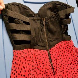 ADORABLE Material Girl Strapless Polka Dot Dress S